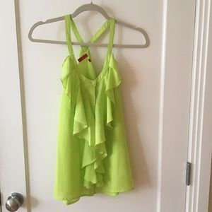 Saks Red Label, size small lime green ruffle tank